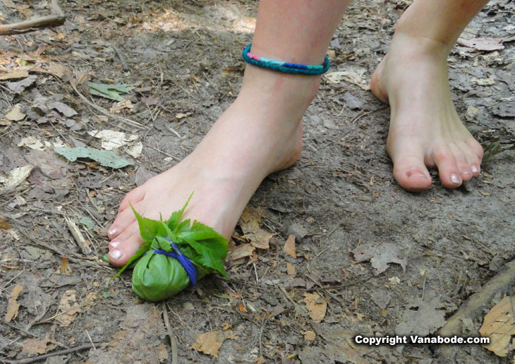 barefoot hiker makes and wears a leaf bandage over bruised bloody toe