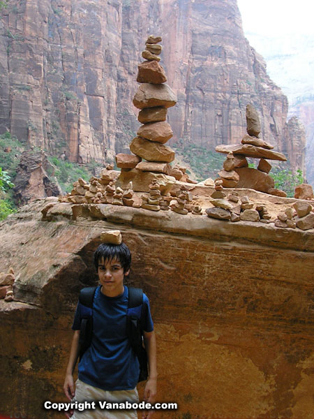stacking rocks in zion picture